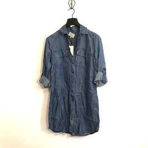 [Skies Are Blue] Denim Button Down Dress - Small